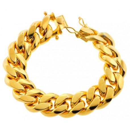 "Yellow Sterling Silver Miami Cuban Link Mens Bracelet 20mm 9"""