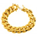 Yellow Sterling Silver Miami Cuban Link Bracelet 20 mm 9 inches