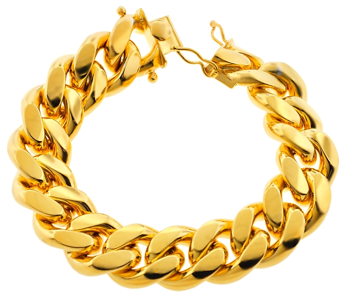 8a86b723e4 Yellow Sterling Silver Miami Cuban Link Mens Bracelet 20mm 9