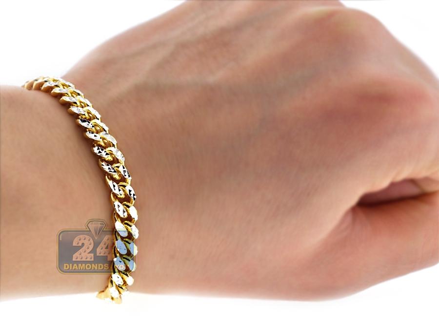 Gold Silver Miami Cuban Diamond Cut Link Mens Bracelet 6 5