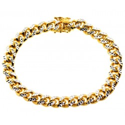 Yellow 925 Silver Miami Cuban Diamond Cut Bracelet 8.5 mm 8.5 Inch
