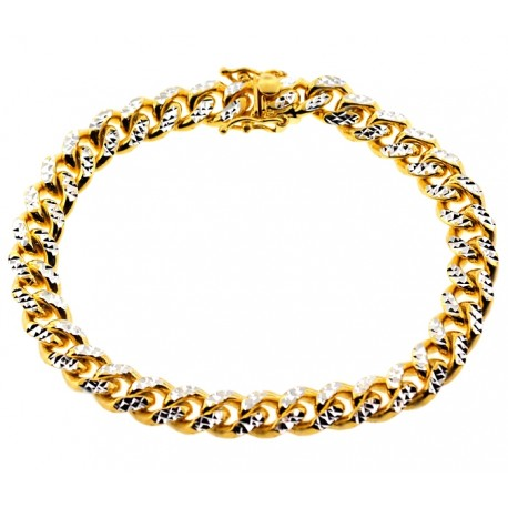 Gold Silver Miami Cuban Diamond Cut Link Mens Bracelet 8.5mm 8.5""