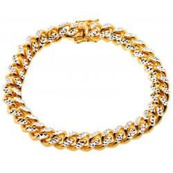 Yellow Silver Miami Cuban Diamond Cut Link Mens Bracelet 11mm 9""
