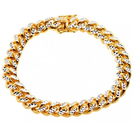 "Yellow Silver Miami Cuban Diamond Cut Link Mens Bracelet 11mm 9"""