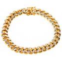 Yellow 925 Silver Miami Cuban Diamond Cut Bracelet 11 mm 9 Inches