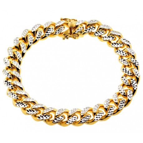 Yellow Gold Silver Miami Cuban Diamond Cut Mens Bracelet 12mm 9""