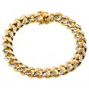 Yellow 925 Silver Miami Cuban Diamond Cut Bracelet 12 mm 9 Inches