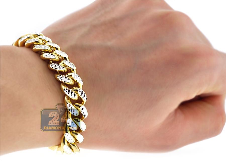 Yellow Gold Silver Miami Cuban Diamond Cut Mens Bracelet 12mm 9