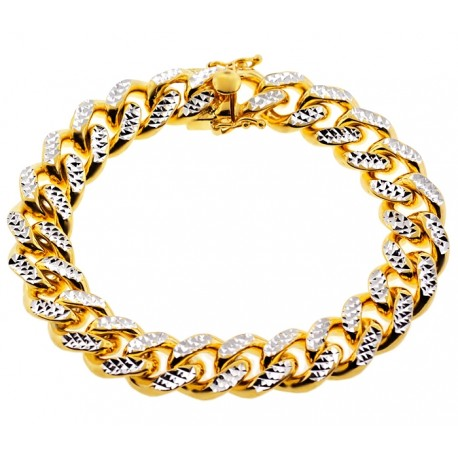 Yellow Silver Miami Cuban Diamond Cut Link Mens Bracelet 14mm 9""