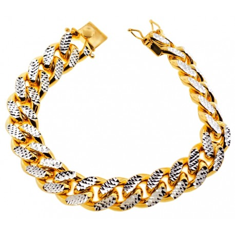 Yellow Silver Miami Cuban Diamond Cut Link Mens Bracelet 15mm 9""