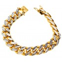 Yellow 925 Silver Miami Cuban Diamond Cut Bracelet 15 mm 9 Inches