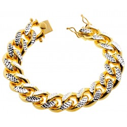 Yellow Silver Miami Cuban Diamond Cut Link Mens Bracelet 18mm 9""