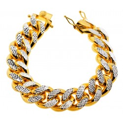 Yellow Silver Miami Cuban Diamond Cut Link Mens Bracelet 20mm 9""