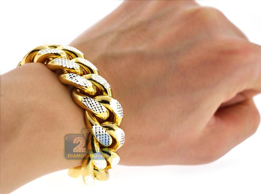 Yellow Silver Miami Cuban Diamond Cut Link Mens Bracelet 20mm 9