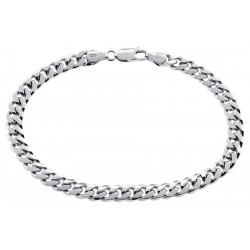 Solid Sterling Silver Miami Cuban Link Mens Bracelet 6.5mm 9""