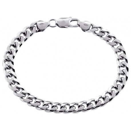 Solid Sterling Silver Miami Cuban Link Mens Bracelet 7mm 8""