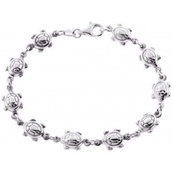 925 Sterling Silver Turtle Charm Womens Bracelet 7 1/2 Inches