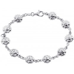 925 Sterling Silver Sun Charm Womens Bracelet 7 1/2 Inches