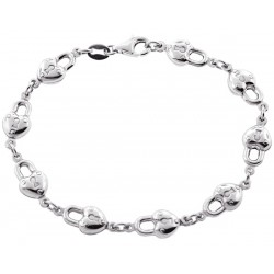 925 Sterling Silver Lock Charm Womens Bracelet 7 1/2 Inches