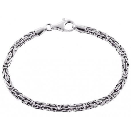 """925 Sterling Silver Byzantine Solid Link Mens Bracelet 4mm 8"""""""