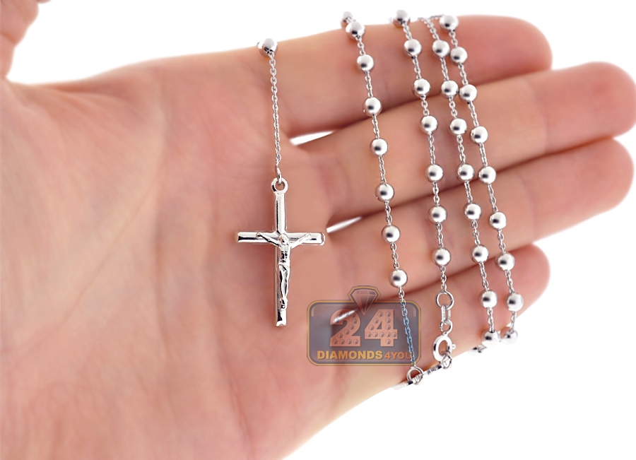 Sterling Silver Rosary Beads Mens Cross Necklace 4 Mm 24