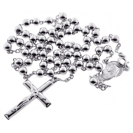 Mens Sterling Silver Rosary Beads Necklace 5 mm 20 24 inches