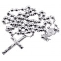 Sterling Silver Rosary Bead Mens Cross Necklace 5 mm