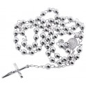 Sterling Silver Rosary Beads Cross Necklace 6 mm 24 Inches