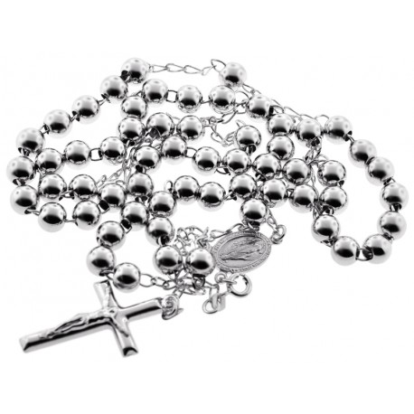 Sterling Silver Rosary Beads Mens Cross Necklace 7 mm 24 28 inch