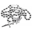 Sterling Silver Rosary Beads Mens Cross Necklace 7 mm