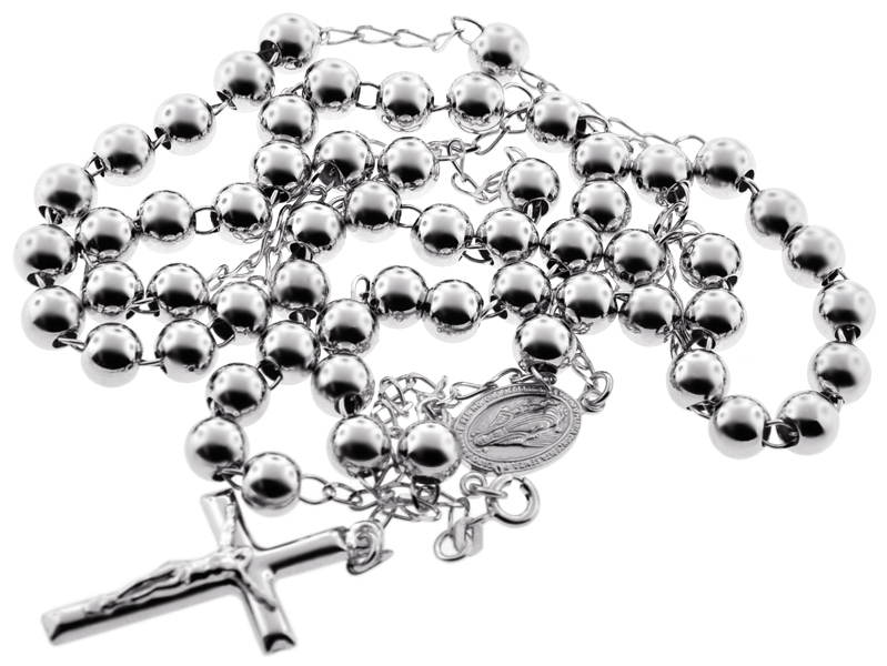 Long 925 Sterling Silver Rosary Bead Cross Necklace BY4c1fH