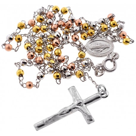 Tri Color Silver Diamond Cut Bead Rosary Necklace 3 mm 24 Inches