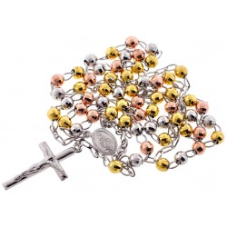 Tri Color Silver Diamond Cut Rosary Mens Necklace 5 mm 26 Inches