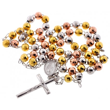 Tri Color Silver Diamond Cut Bead Mens Rosary 8 mm 32 Inches