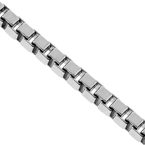 9c40756cb5d9a Solid Sterling Silver Square Box Mens Chain 4.5 mm