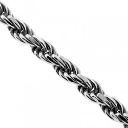 Italian Sterling Silver Solid Rope Mens Chain 6 mm