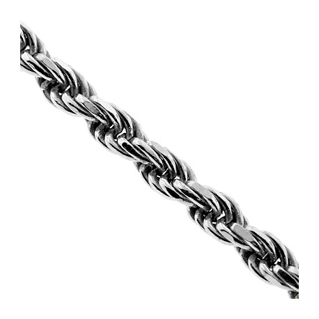 Solid Sterling Silver Mens Rope Chain 6 mm 24 26 30 inches