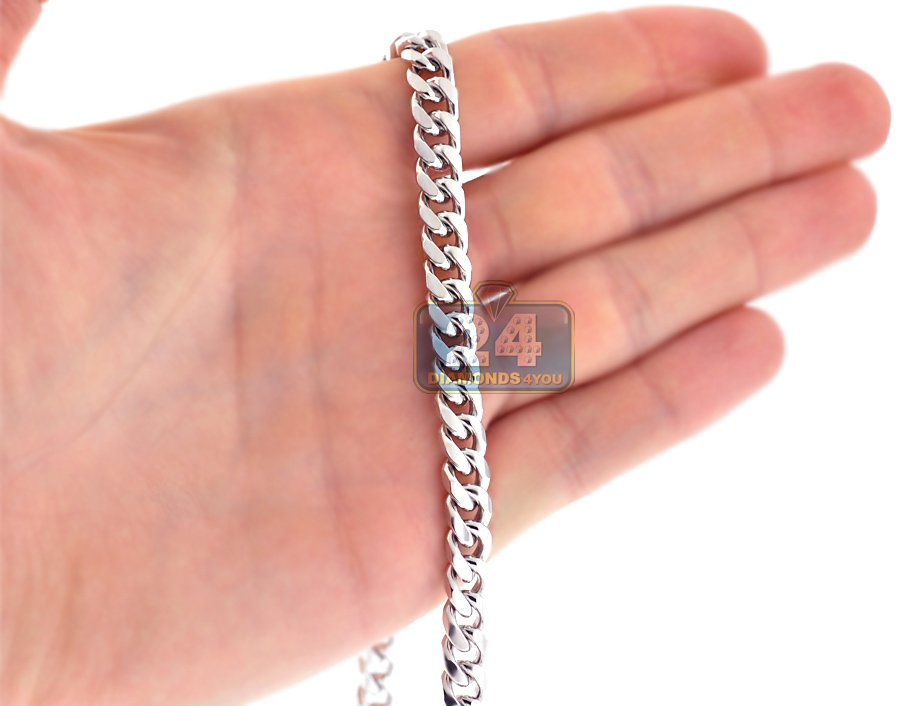 0bb305e9d7ab1 Sterling Silver Solid Miami Cuban Link Mens Chain 7 mm