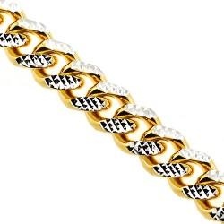 Yellow Gold Silver Diamond Cut Miami Cuban Mens Chain 18 mm