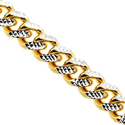 a1be5daa1eed9 Yellow Gold Silver Diamond Cut Miami Cuban Mens Chain 18 mm