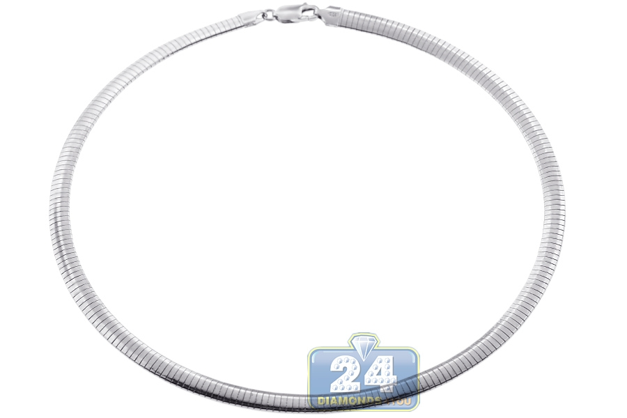 Sterling Silver Womens Omega Chain Necklace 6 Mm 16 18 20 Inch