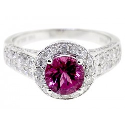 14K White Gold 2.28 ct Diamond Pink Tourmaline Womens Ring