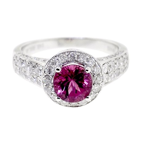 14K White Gold 2.28 ct Diamond Pink Tourmaline Womens Gemstone Ring