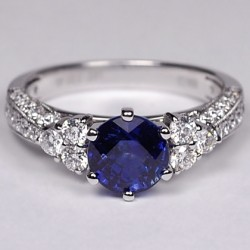18K White Gold 3.19 ct Blue Sapphire Diamond Womens Solitaire Ring