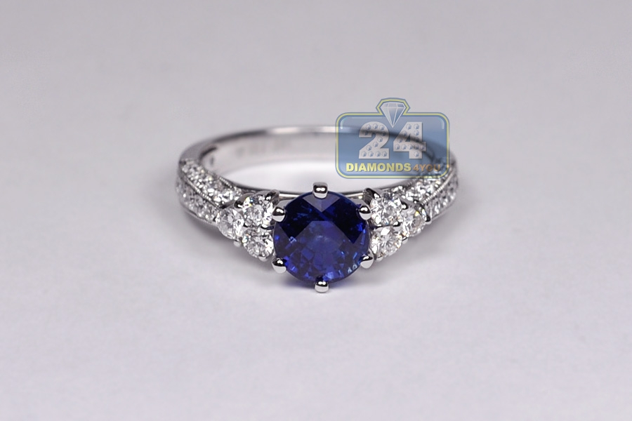 Womens Blue Sapphire Diamond Womens Ring 18K White Gold 3.19ct