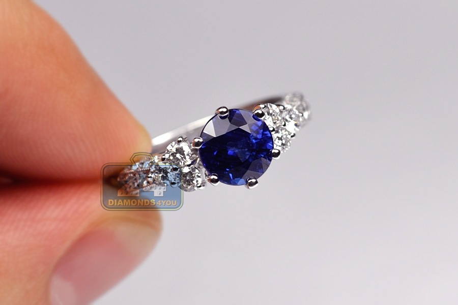 Womens Blue Sapphire Diamond Womens Ring 18k White Gold 3 19ct