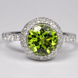 Womens Green Peridot Diamond Halo Ring 14K White Gold 2.78 ct