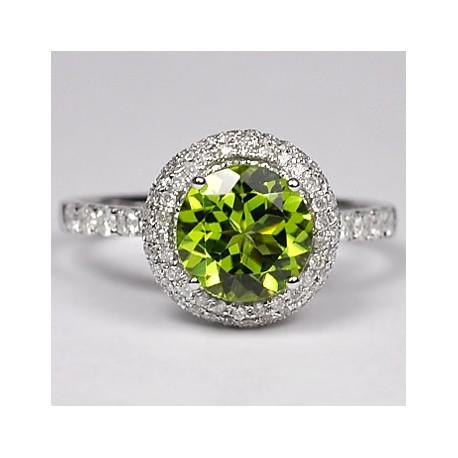 Womens Green Peridot Diamond Halo Ring 14K White Gold 2.78 ct
