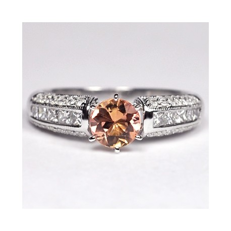Womens Imperial Topaz Diamond Solitaire Ring 14K Gold 1.23 ct
