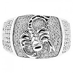 14K White Gold 1.04 ct Diamond Scorpion Mens Ring